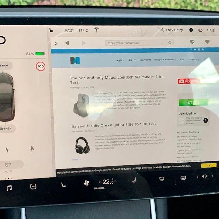 Webbrowser unter Tesla V10 im SR+