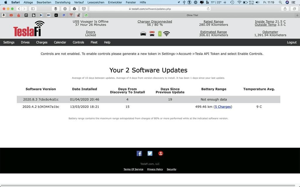 Teslafi Updateverlauf
